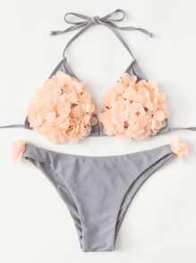 Flower Applique Self Tie Bikini Set