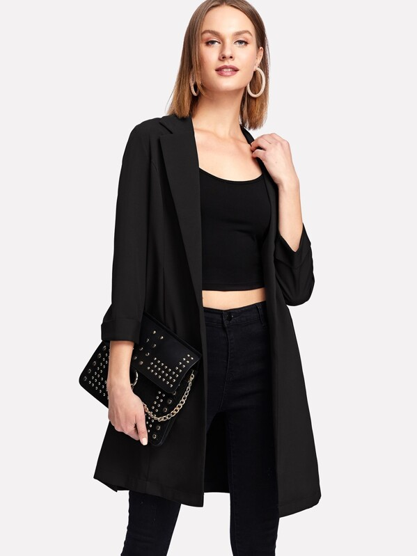 Split Side Longline Blazer, Black, Rasa