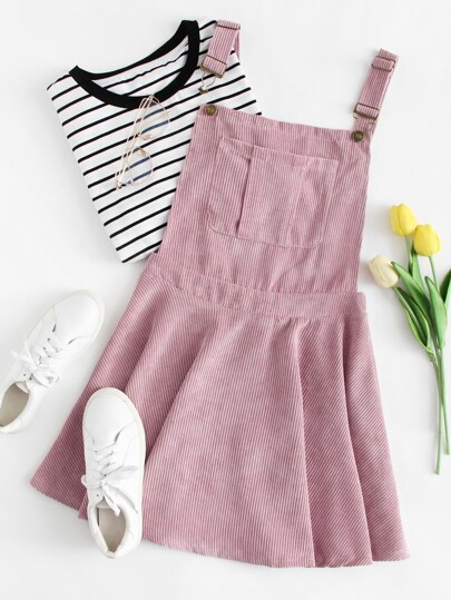 Pocket Front Zip Up Back Corduroy Pinafore Dress