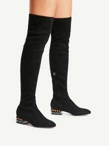 Square Toe Side Zipper Thigh High Boots