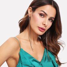 - Sequin & Rhinestone Design Drop Earrings