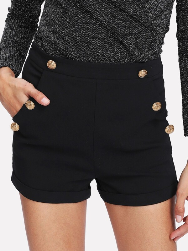e2ac41cc Gold Button Detail Shorts | SHEIN UK