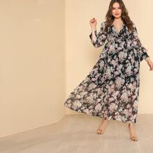 Plus Self Belted Floral Maxi Dress