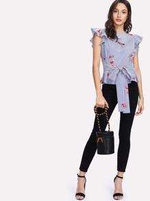 7d60a5e666a Flutter Sleeve Tie Waist Embroidered Striped Top