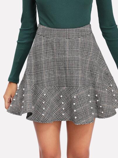 Falda de cuadros con perla -Spanish SheIn(Sheinside) 34b9fa42cb5a