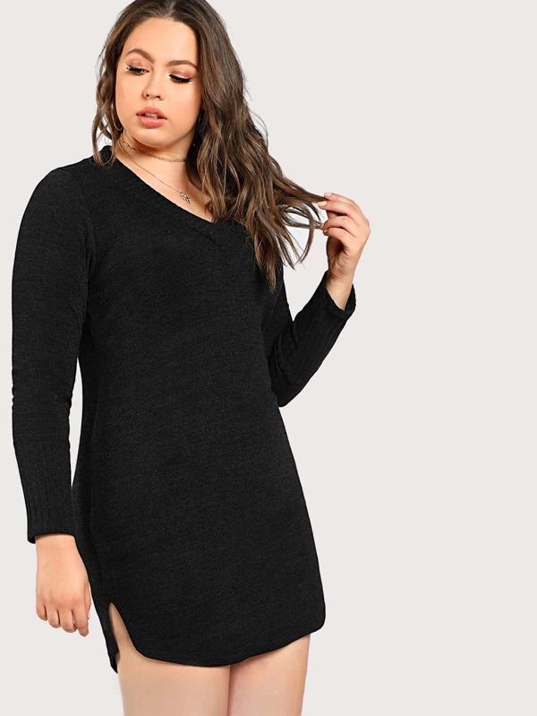 7d202425e6 Cheap Plus Ribbed Long Sleeve Dress BLACK for sale Australia | SHEIN