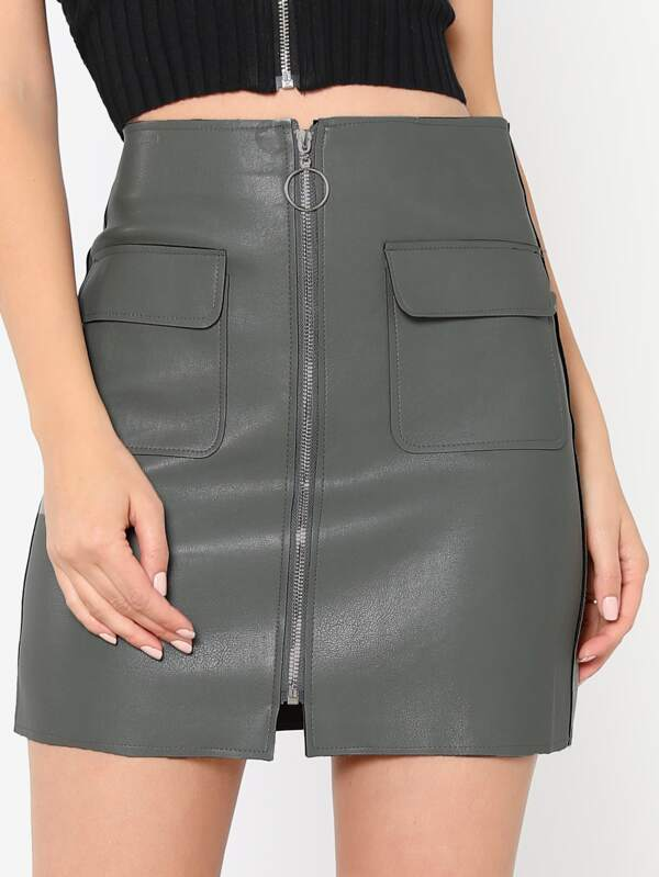 41d35a61a O-Ring Front Zipper Mini Skirt MINT | SHEIN