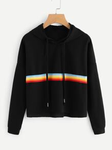 Contrast Striped Raw Hem Crop Hoodie