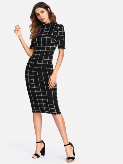 Mock Neck Grid Fitted Dress