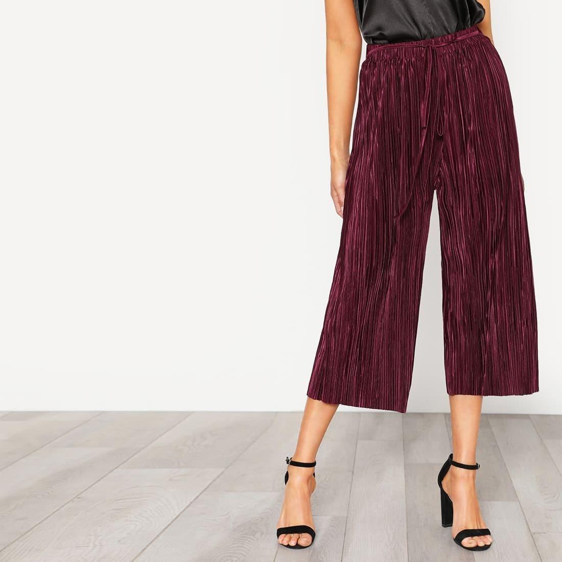 - Self Tie Pleated Culotte Pants