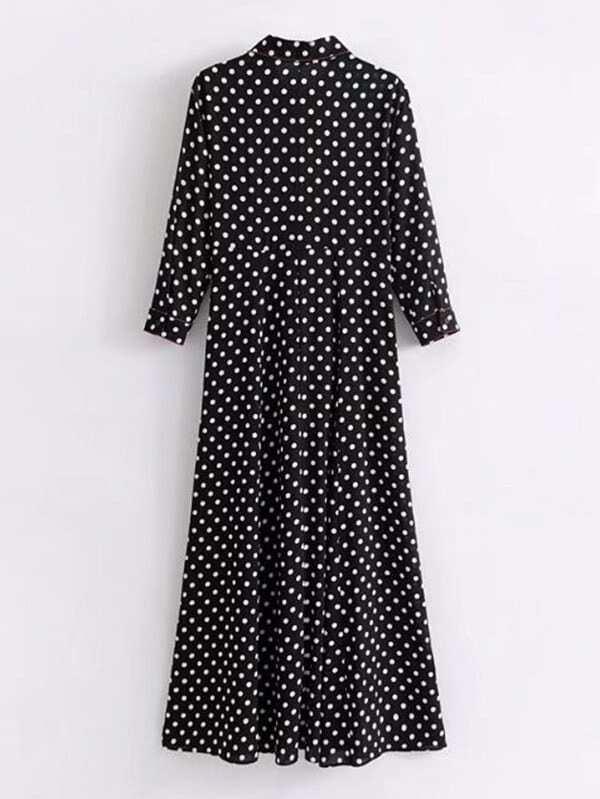79934cb468b6d7 Polka Dot Maxi Shirt Dress | SHEIN UK