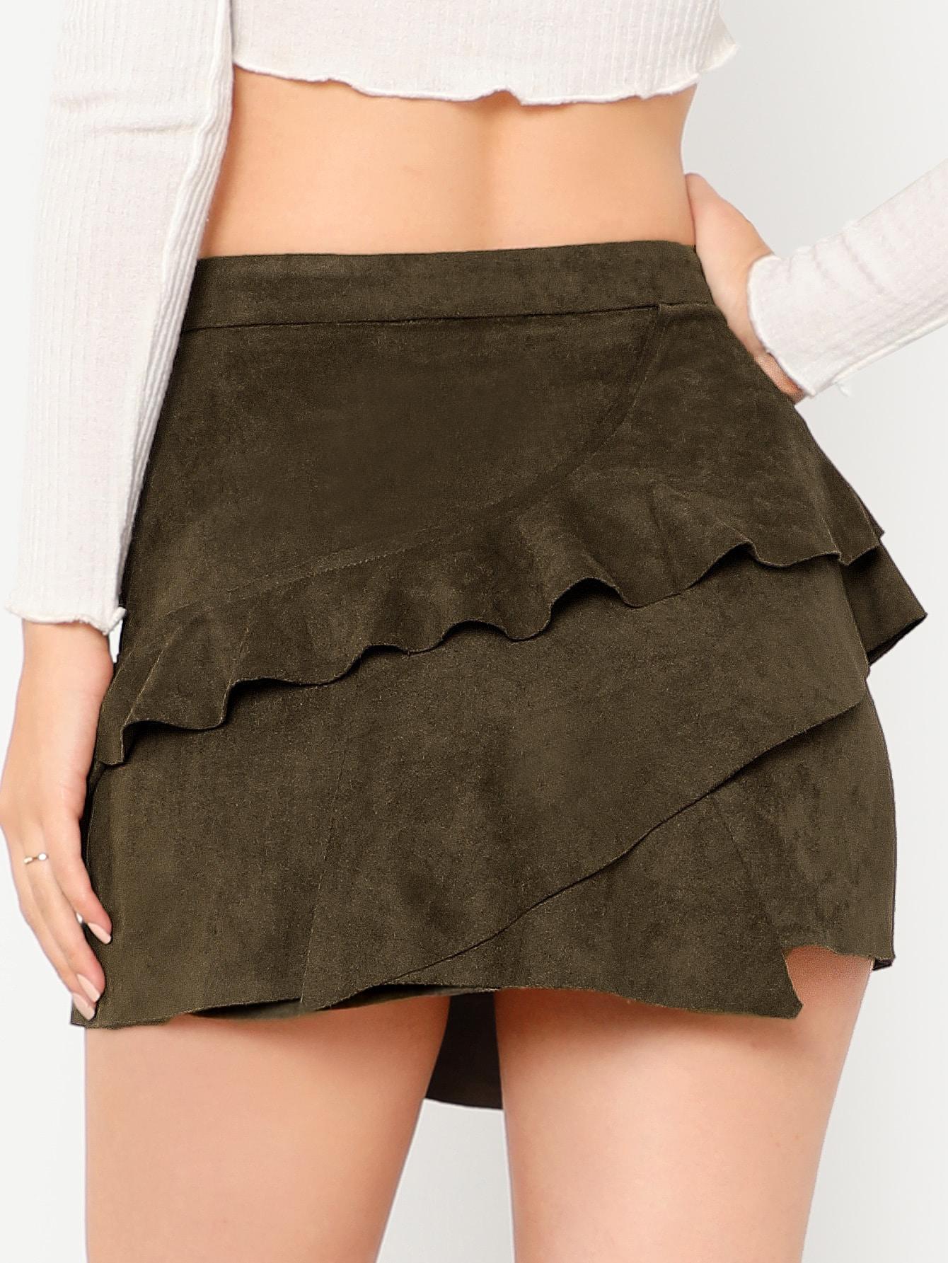 d7d9794aa Faux Suede Ruffle Mini Skirt | SHEIN