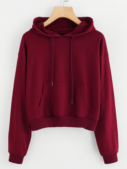 Hooded Drawstring Kangaroo Pocket Sweatshirt