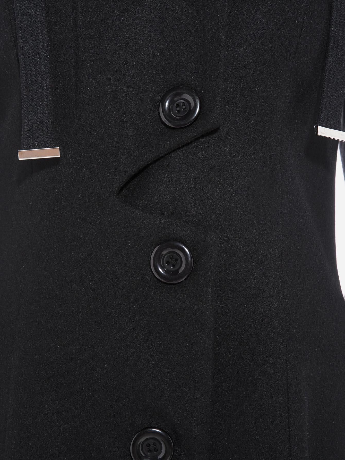 Manteau Rangée Des Style Avec Une Et Boutons Patineuse Lacet Y7gbfyvI6