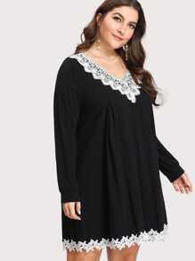 floral lace applique tee dress