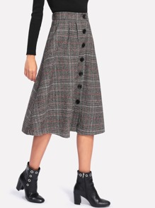 Wales Check Single Breasted Skirt