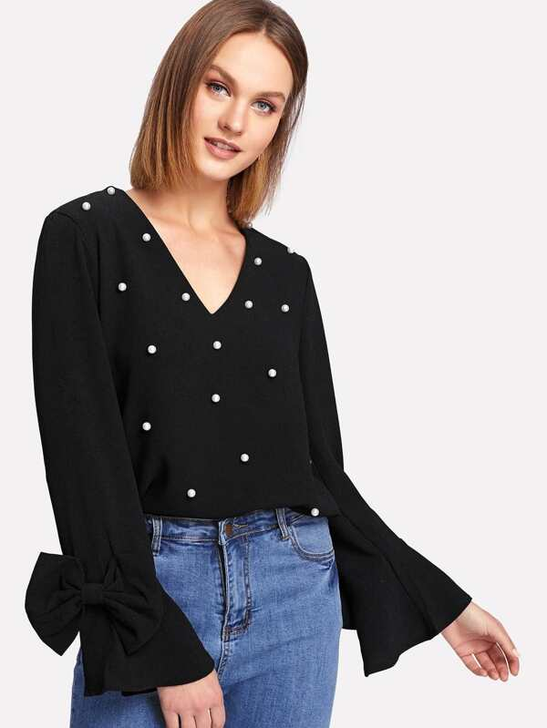 c26f2da264 Cheap Bow Embellished Bell Sleeve Pearl Beaded Top for sale ...