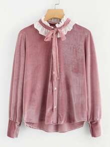 Contrast Frill Trim Tie Neck Velvet Shirt