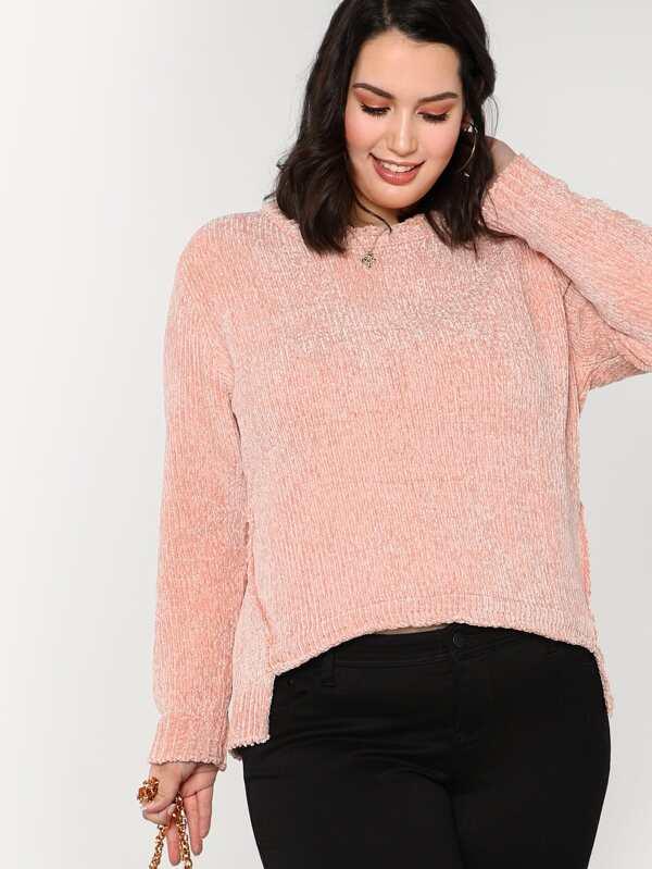 64268c00f60 Plus Fuzzy Knit Scoopneck Sweater PINK