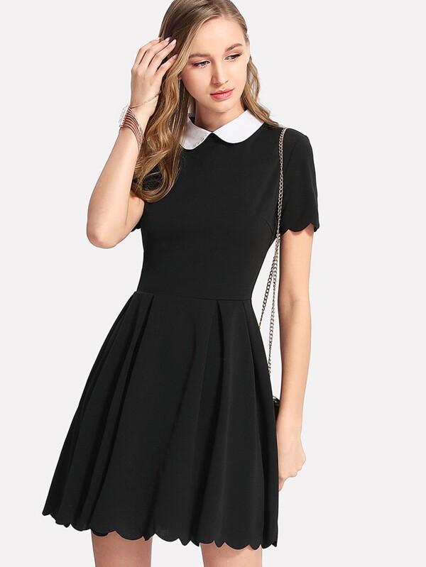61d4c457842 Peter Pan Collar Scalloped Edge Flare Dress
