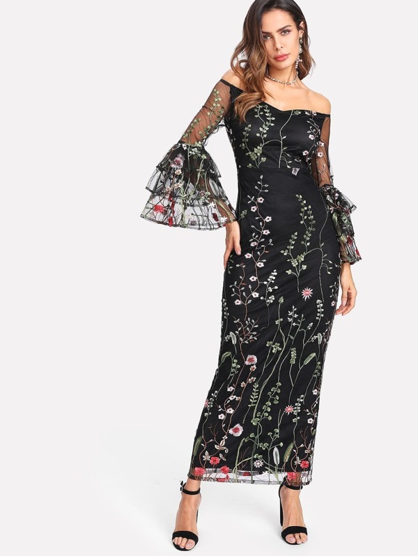 69601be216e30 Botanical Embroidered Mesh Overlay Bardot Dress | SHEIN IN
