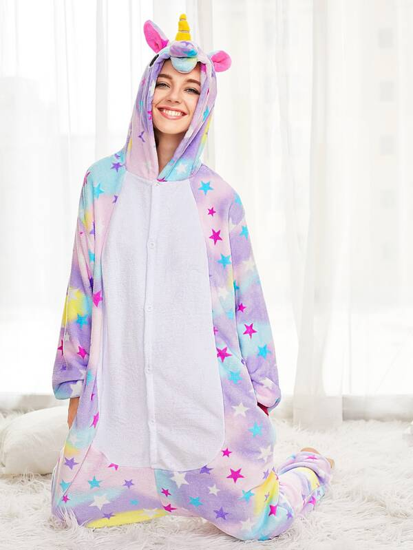 c1856350cba4 Allover Stars Plush Unicorn Onesie