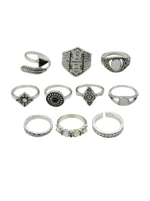 At-Silver 10 Pcs/Set Boho Chic Finger Rings Women Accessories