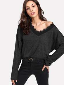 Contrast Eyelash Lace Drop Shoulder Jumper