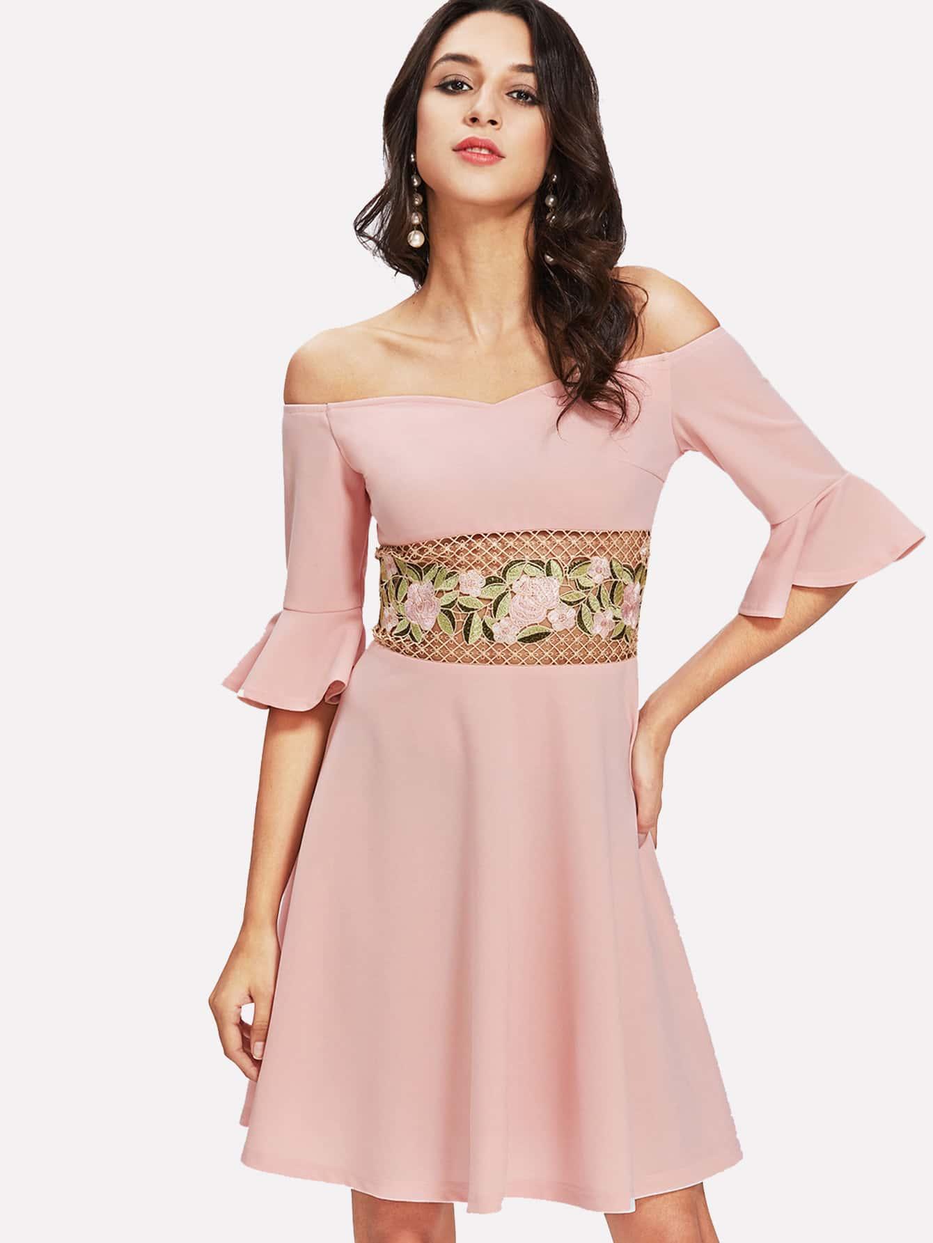 Vestido de encaje con bordado-Spanish SheIn(Sheinside)