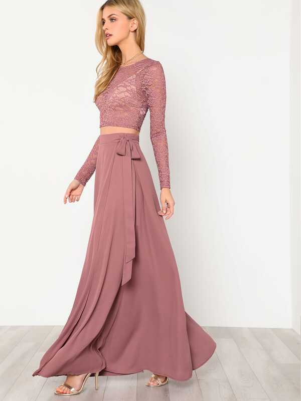 49cc0a3d81 Crop Lace Top & Knot Skirt Co-ord | SHEIN IN