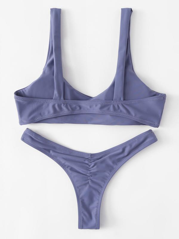 c5a4e282ef Knot Top With High Leg Bikini Set | SHEIN