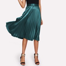 - Zip Closure Pleated Satin Skirt
