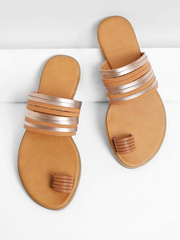 d9b84390821c Metallic Strappy Toe Ring Sandals -SheIn(Sheinside)