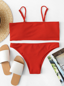 Detachable Straps Top With Ribbed Bikini Set