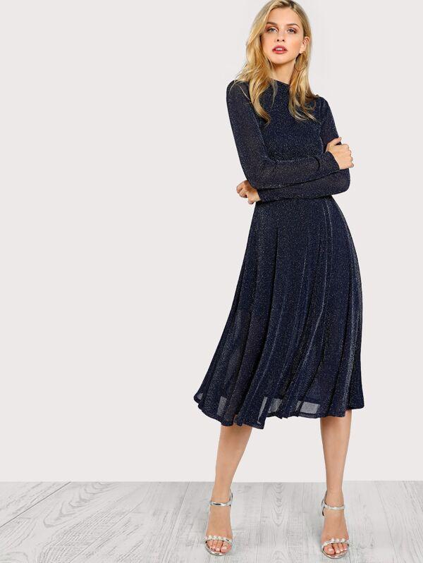 f3aa122a71 Button Keyhole Mock-neck Glitter Flowy Dress | SHEIN UK