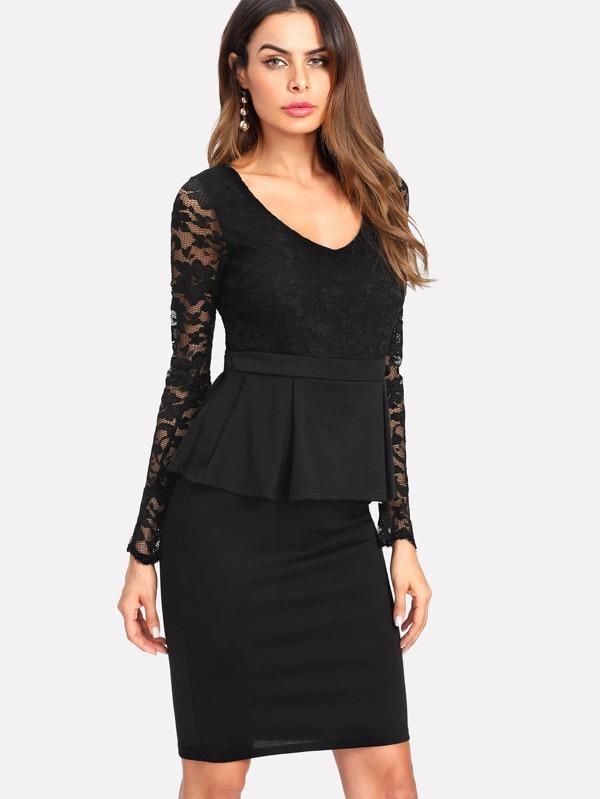 ff483e0618670d Cheap Floral Lace Panel Peplum Dress for sale Australia