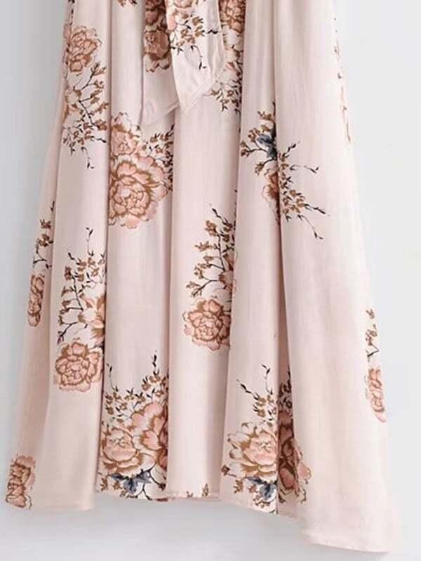 377f784c1b3e33 Self Tie Floral Kimono Maxi Dress   ROMWE