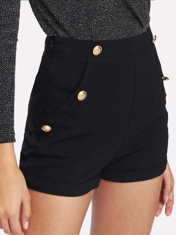 26bf0451af Gold Button Detail Shorts | SHEIN IN