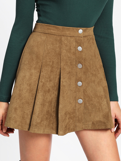 e7020f08b60 Single Breasted Suede Skirt