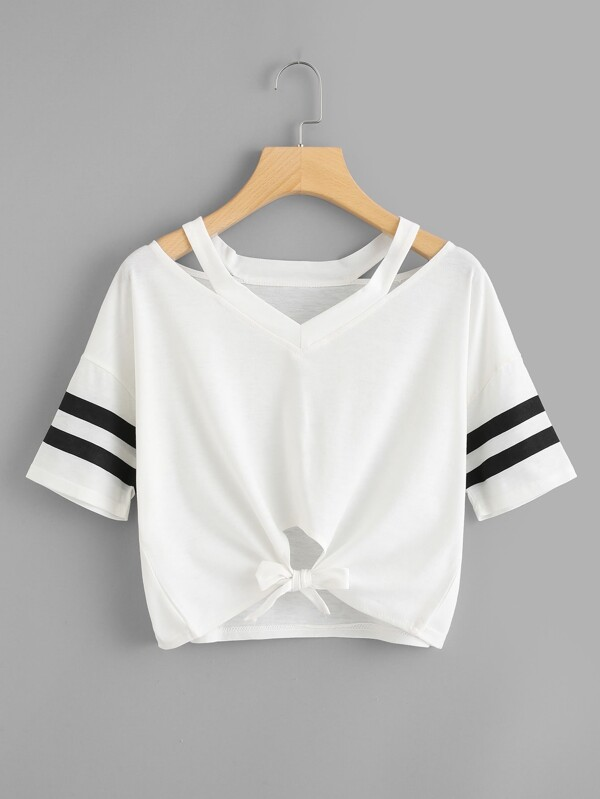 d155f5e821 Cut Out Neck Varsity Striped Knot Front Tee | SHEIN UK