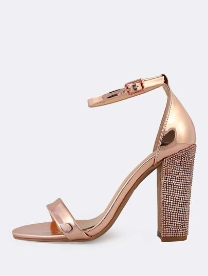 f49edc598ad59 Metallic Ankle Strap Rhinestone Studded Heels ROSE GOLD