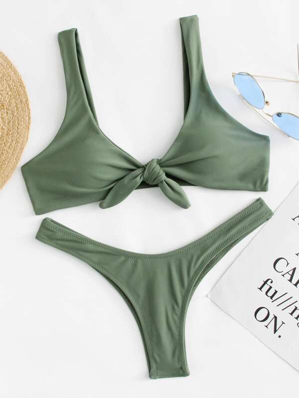 bfe408d810 Knot Scoop Top With High Leg Ruched Bikini Set | SHEIN