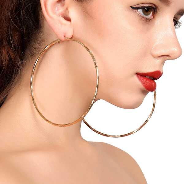 Open Hoop Drop Earrings 1pair, Gold