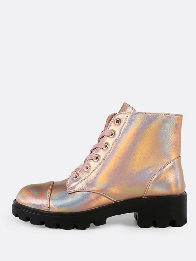 Metallic Lace Up Military Boots ROSE GOLD