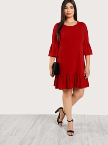 Plus Trumpet Sleeve Ruffle Hem Dress