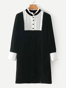 Contrast Panel Pleated Detail Velvet Dress