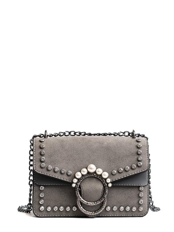 29c22893b6 Faux Pearl Decor Chain Bag