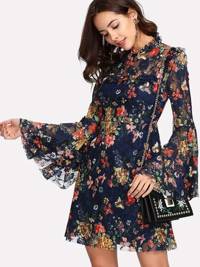 Calico Print Keyhole Back Bell Sleeve Dress