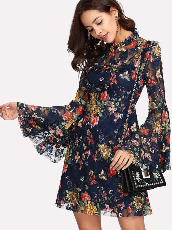 8d859e613c Cheap Frill Neck Flounce Sleeve Floral Lace Dress for sale Australia ...