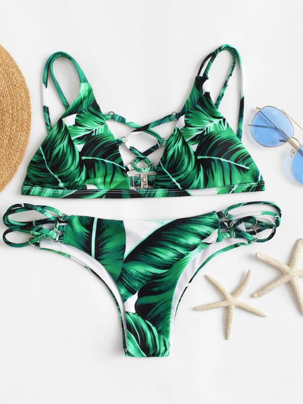 6122dba94c Jungle Print Lace Up Top With Ladder Cutout Bikini | SHEIN UK